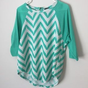 Teal Green Chevron Flowing Top with Gold Zipper